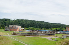 City sewage water treatment plant reservoir pools Royalty Free Stock Photo