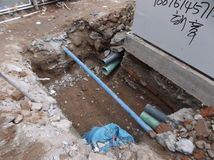 City sewer plastic pipe installation Royalty Free Stock Image