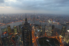 City of Shanghai at dusk Stock Photography