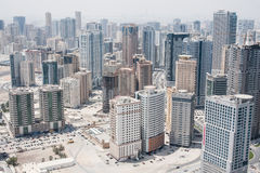 City of Sharjah, UAE. View of city of Sharjah from the roof, UAE Royalty Free Stock Photo