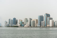 City of Sharjah, UAE. View of city of Sharjah from the water, UAE Royalty Free Stock Image