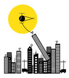 City is shifting by copter. A small powerfull cartoonist copter shifting the city by lifting building and transporting them to new place Royalty Free Stock Photos
