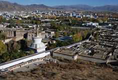 The city  of  Shigatse. The view of   Shigatse  city ,the second  largest city in  Tibet Stock Photo