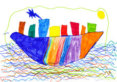 City on ship and sea children drawing. Royalty Free Stock Images
