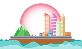 City on ship  in the sea Concept conservation World environment. Icon Landscape geometric shape design flat scene design. Cityscap. City on ship in the sea Royalty Free Stock Images