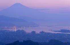 The city of Shizuoka and Mt.Fuji at dawn Royalty Free Stock Photography