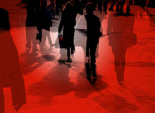City shoppers. Multi layered image of shoppers in city center Royalty Free Stock Photo