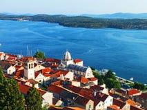 City of Sibeik, Croatia. Birds Eye View of the City of Sibenik in Summer Royalty Free Stock Photo