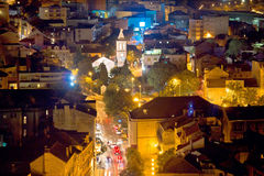 City of Sibenik aerial night view Royalty Free Stock Images