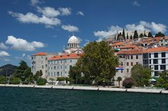 City of Sibenik - Cathedral of Saint James and City MuseumC. Heart of old, historic, Croatian town Šibenik with St James Cathedral and City Museum; a view from Royalty Free Stock Image