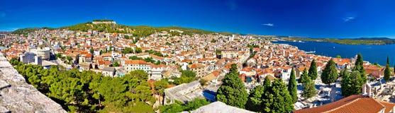 City of Sibenik rooftops panorama Royalty Free Stock Photos
