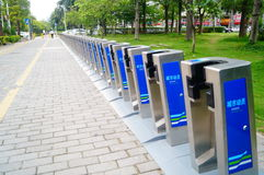 City sidewalk bicycle facilities Stock Photography