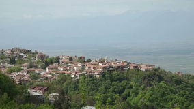 City Sighnaghi, Alazani Valley and Caucasus range stock video