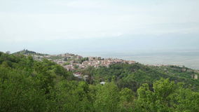 City Sighnaghi, Alazani valley and Caucasus range stock footage