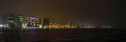 City sights of Amsterdam at night. General views of city landscape.  stock photography