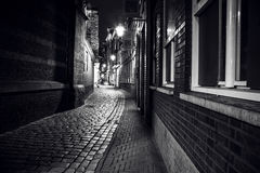 City sights of Amsterdam at night. General views of city landscape. Stock Photos