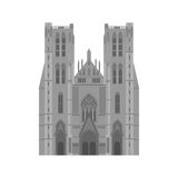 City sights. Brussels architecture landmark. Belgium country flat travel elements. Cathedral of St. Michael and St. Gudula Royalty Free Stock Images