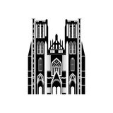 City sights. Brussels architecture landmark. Belgium country flat travel elements. Cathedral of St. Michael and St. Gudula Stock Image