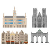 City sights. Brussels architecture landmark. Belgium country flat travel elements. Cathedral of St. Michael and St. Gudula. Town Hall on Grand Place Grote Stock Image
