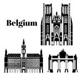 City sights. Brussels architecture landmark. Belgium country flat travel elements. Cathedral of St. Michael and St Stock Photos