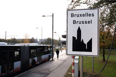 City sign of Brussels Stock Photos