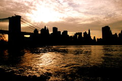 City silhouette. Silhouette of a city during sunset (New York royalty free stock photography