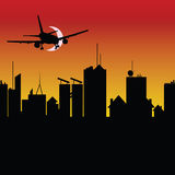 City silhouette with airplane vector Royalty Free Stock Photos