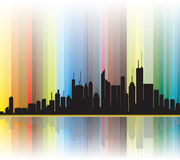 City silhouette colorful lines in background Stock Image