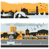City silhouette of european town with classic buildings, towers and churches colorful vector illustration. Silhouette of european town with classic buildings stock illustration