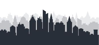 City Silhouette Land Scape. Horizontal City Landscape. Downtown Skyline With High Skyscrapers. Industrial Panoramic Royalty Free Stock Images