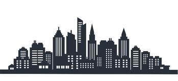 City silhouette land scape. City landscape. Downtown landscape with high skyscrapers. Panorama architecture Goverment. City silhouette land scape. Horizontal royalty free illustration