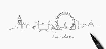 Pen line silhouette london. City silhouette london in pen line style drawing with black lines on white background vector illustration