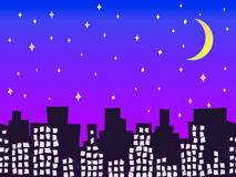 City silhouette at night with stars seamless vector illustration Royalty Free Stock Photography