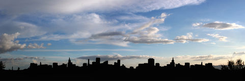 City silhouette (panorama). Panoramic city silhouette Royalty Free Stock Photo
