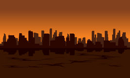 City silhouette reflection from water Royalty Free Stock Images