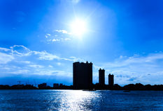 City silhouette. City with sunrise silhouette, Bangkok, Thailand Royalty Free Stock Image