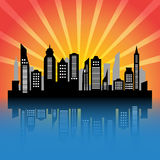 City silhouette at sunset. Skycrapers. City skyline. City vector illustration at sunset Stock Photography