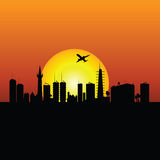 City silhouette with sunshine and plane vector Stock Photo