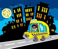 City silhouette with taxi driver. Illustration Stock Image