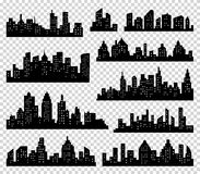 City silhouette vector set. Panorama background. Skyline urban border collection. Buildings with windows. City silhouette vector set. Panorama city background Stock Illustration