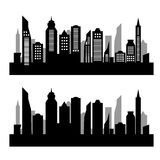 City silhouette on white background. Skycrapers. City skyline. City vector illustration on white background Stock Photo