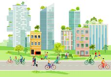 Free City Silhouette With House Greening Illustration Stock Image - 207526311