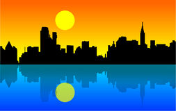 City silhouettes royalty free illustration