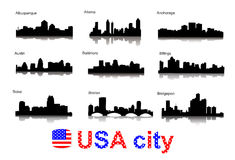 City silhouettes of the most popular cities of the Stock Photography