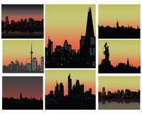 City silhouettes. Set of city silhouettes,  illustration Royalty Free Stock Photos