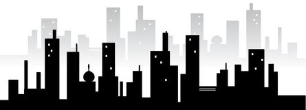 City silhuette. Black silhuette of big buildings Royalty Free Stock Photos