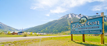 The City of Silverton in the San Juan Mountains in Colorado. The City of Silverton, a popular ski destination in the winter, during a beautiful summer day in the Royalty Free Stock Image