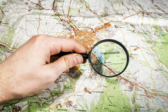 The city of Simferopol on map of Crimea through a magnifying gla Stock Photo