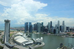 City of singapore. Arial view encompassing financial buildings, park bay hotel and the marina area Stock Images