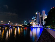 Singapore city skyline at night Royalty Free Stock Photo